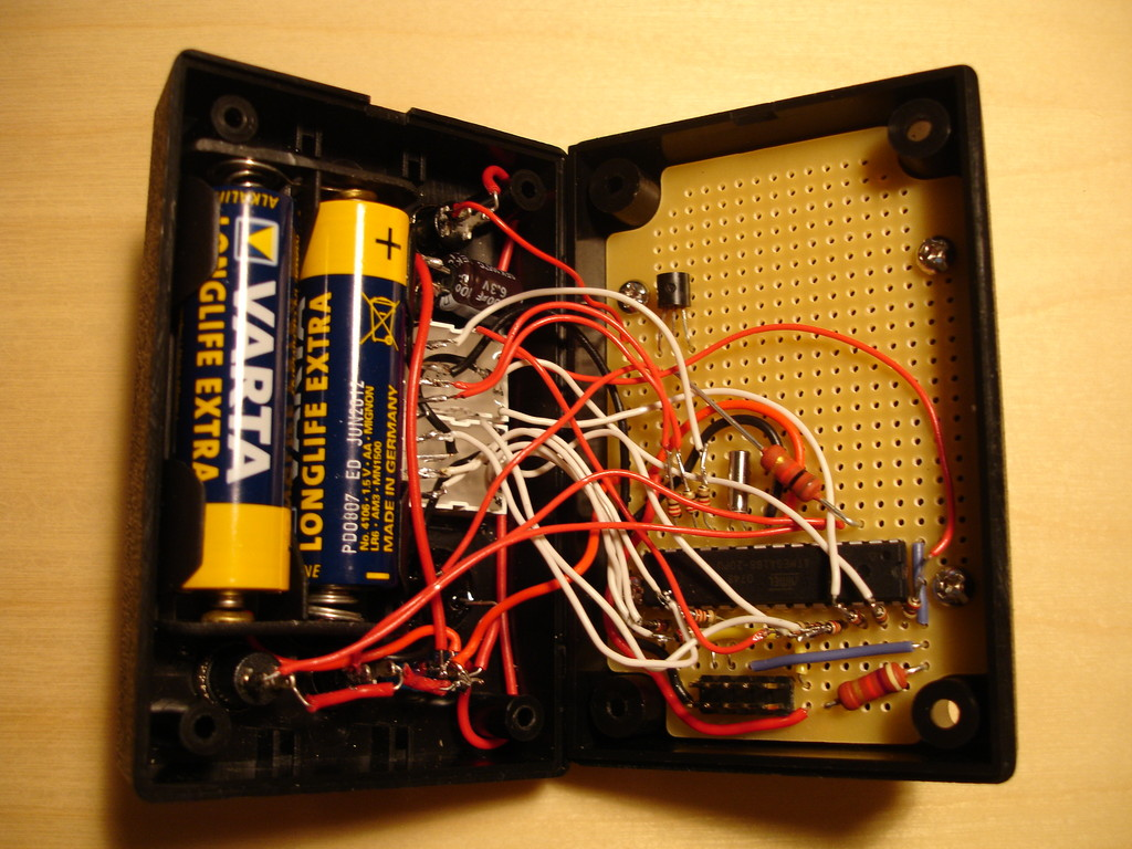 Indreks Timer Project Piezo Buzzer Driver Circuit Diagram On The Left You Can See A Battery Holder Again Attached With Superglue Box Is Closed Using 4 Screws So When Its Time To Replace